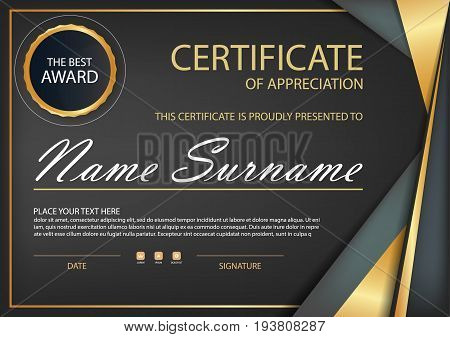 Black gold Elegance horizontal certificate with Vector illustration white frame certificate template with clean and modern pattern presentation