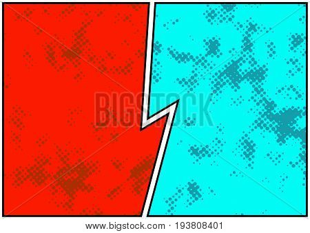 Comics blank story page spotted and bright. Retro comic empty dotted pattern strip page representing opposite sides divided by white and black border. Easy to change colors. Vector illustration