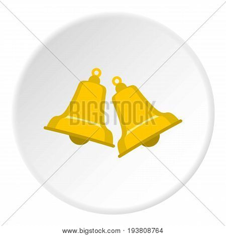 Bells icon in flat circle isolated vector illustration for web