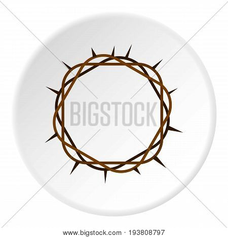 Crown of thorns icon in flat circle isolated vector illustration for web