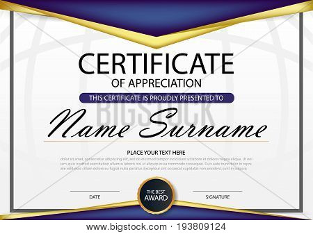 Purple Elegance horizontal certificate with Vector illustration white frame certificate template with clean and modern pattern presentation