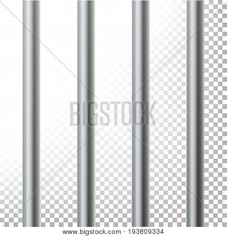 Prison Bars Isolated Vector Illustration. Transparent Background. 3D Metal Jailhouse, Prison House Grid