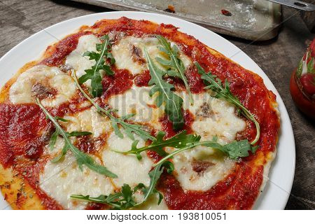 craft pizza  homemade anchovy pizza delicious dish,