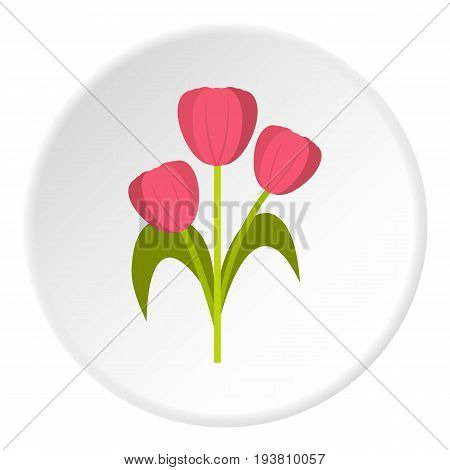 Pink tulips icon in flat circle isolated vector illustration for web