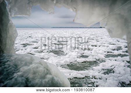 The view from the ice cave in the patterns on the frozen sea
