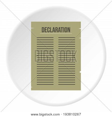Declaration of Independence icon in flat circle isolated vector illustration for web