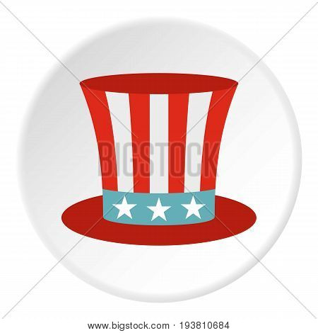 Uncle Sam hat icon in flat circle isolated vector illustration for web