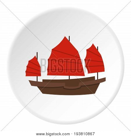 Chinese boat with red sails icon in flat circle isolated vector illustration for web