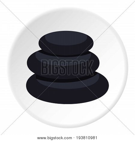 Stack of black basalt balancing stones icon in flat circle isolated vector illustration for web