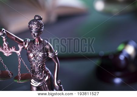 Law symbol, statue of justice.  Law concept background. Place for text.