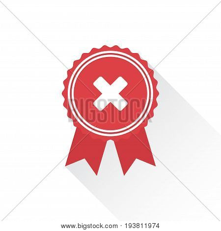 Red rejected or certified medal icon in a flat design with shadow