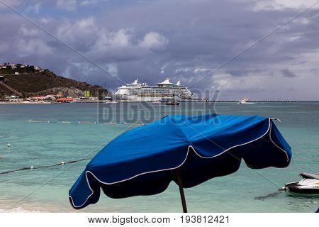 PHILIPSBURG - AUGUST 2:  ``Adventure Off The Seas`` cruise ship  seen near  Great Bay walkway in Philipsburg, seen in St.Maarten on August 2, 2015