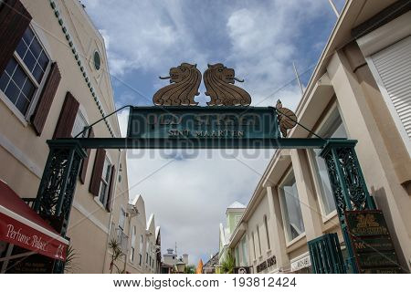 PHILIPSBURG - AUGUST 2:  Old Street sign near Great Bay walkway with restaurants and gift stores in Philipsburg, seen in Sint Maarten on August 2, 2015