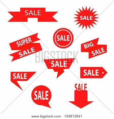 Sale Label collection. Sale icons. Sale tags. Sale and Discount red ribbons, banners and icons. Shopping Tags.