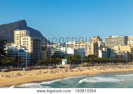 RIO DE JANEIRO, BRAZIL - CIRCA JAN 2014: Leblon beach in Rio de Janeiro, Brazil