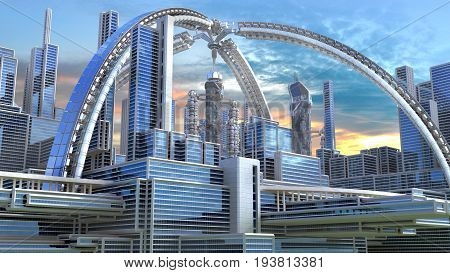 3D Illustration of a futuristic city with an arched structure, highrise buildings and terraces, for architectural backgrounds.