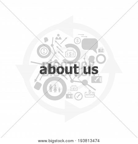 Text About Us On Digital Background. Information Concept