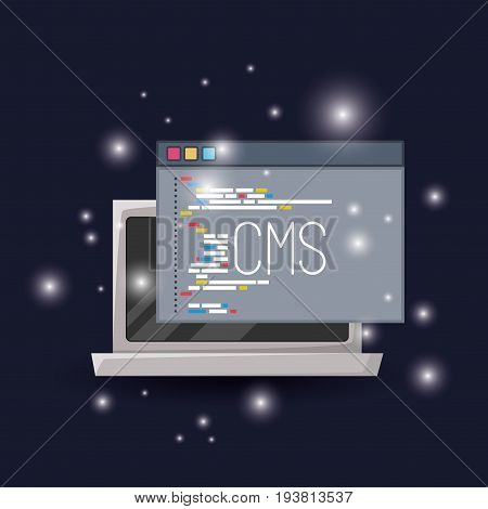 blue dark background with brightness of laptop and program window cms programming language vector illustration