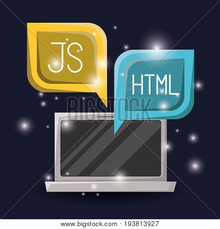 blue dark background with brightness of laptop and dialog textbox with web programming language codes vector illustration