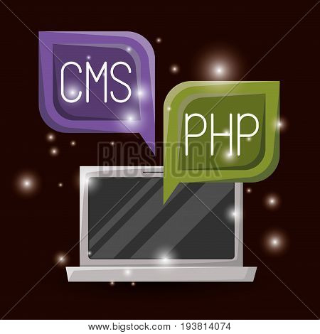 red wine color background with brightness of laptop and dialog textbox with web programming language codes vector illustration