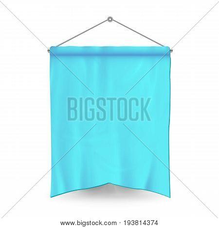 Blue Pennant Template Vector. Empty 3D Pennant Banner Blank