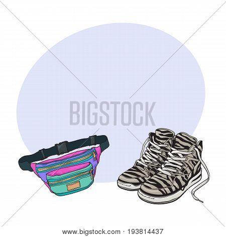 Personal items from 90s - zebra sneakers and colorful waist bag, sketch vector illustration with space for text. Fashion of the nineties, 90s - high sneakers, sport shoes, colorful waist bag