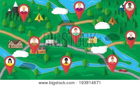 Human resources management concept, searching professional staff, work, hq. map with candidates. Vector illustration in flat style