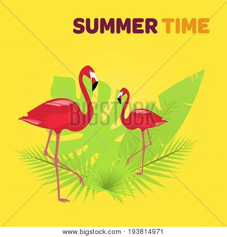 Summertime. Red flamingos with tropical palms in the background. Tropical colors.
