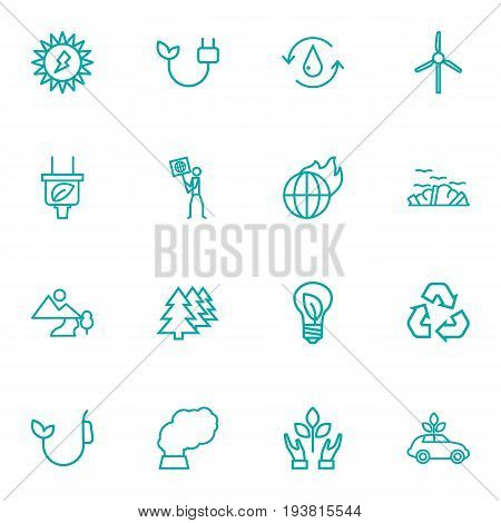 Set Of 16 Bio Outline Icons Set.Collection Of Garbage, Water, Afforestation And Other Elements.