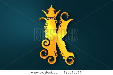 King logo. Royal luxury emblem. Face and crown icon. Business fantasy golden badge with K letter. 3D rendering
