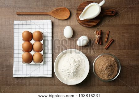 Ingredients for cinnamon rolls on kitchen table