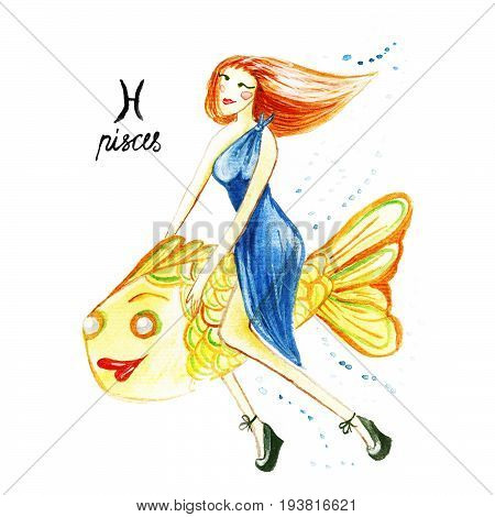 Zodiac Sign Of The Pisces, Watercolor Illustration On A White Background