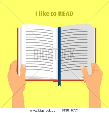 Hands holding open book for read. Hand book reading vector illustration