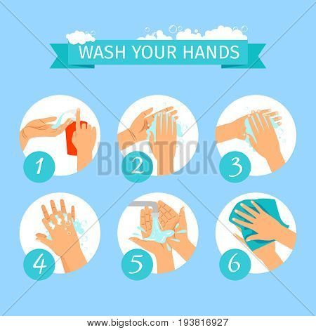 Wash yours hands restroom or medicine vector illustration. People hands washing hygiene infographic icons with soap foam