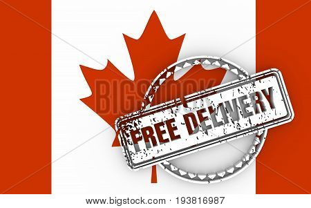 Distressed stamp icon. Graphic design elements. 3D rendering. Free delivery text. Flag of the Canada