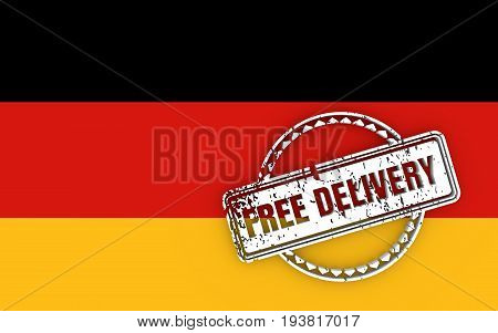 Distressed stamp icon. Graphic design elements. 3D rendering. Free delivery text. Flag of the Germany