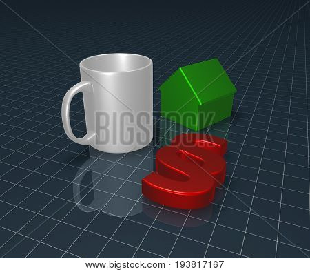 paragraph symbol mug and house model - 3d rendering