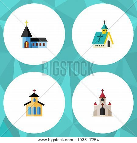 Flat Icon Building Set Of Traditional, Architecture, Catholic And Other Vector Objects. Also Includes Structure, Architecture, Religious Elements.