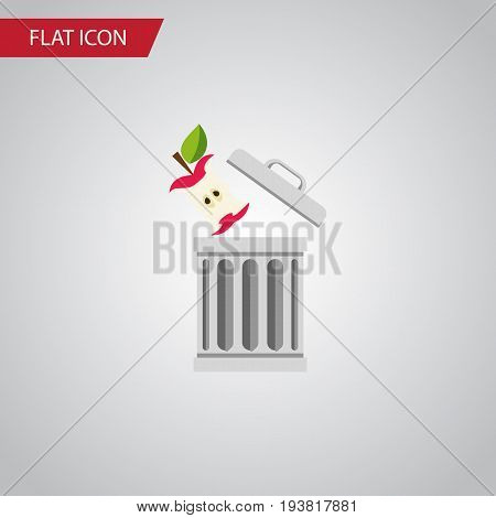 Isolated Trash Flat Icon. Bin Vector Element Can Be Used For Trash, Bin, Apple Design Concept.