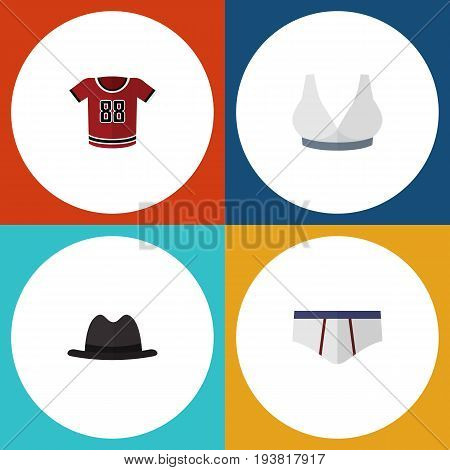Flat Icon Clothes Set Of Panama, T-Shirt, Underclothes And Other Vector Objects. Also Includes Underclothes, Bra, Breast Elements.