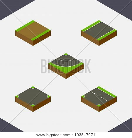 Isometric Road Set Of Footpath, Unilateral, Downward And Other Vector Objects. Also Includes Highway, Downward, Footpath Elements.