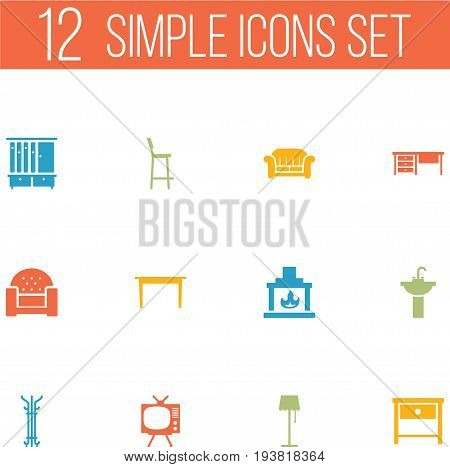 Set Of 12 Set Icons Set.Collection Of Chair, Wardrobe, Sofa And Other Elements.