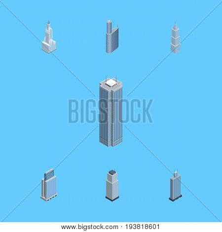 Isometric Building Set Of Exterior, Urban, Skyscraper And Other Vector Objects. Also Includes Residential, Building, Exterior Elements.