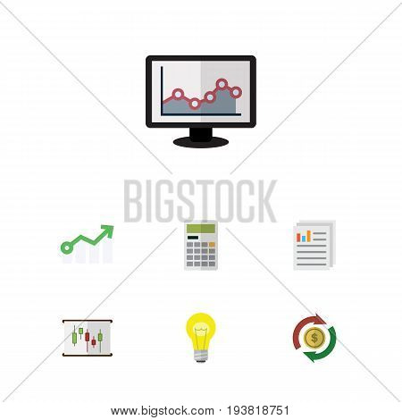 Flat Icon Gain Set Of Bubl, Growth, Calculate And Other Vector Objects. Also Includes Report, Graph, Paper Elements.