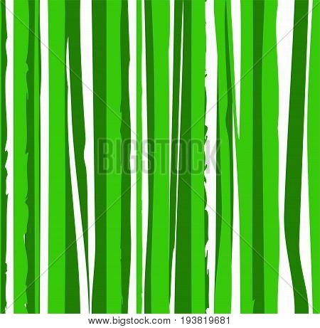Jagged green stripes, seamless background, vector. Vertical, wavy lines on white background. Abstract pattern.