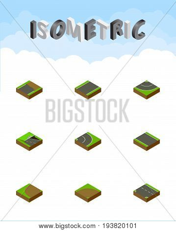 Isometric Road Set Of Unilateral, Downward, Without Strip And Other Vector Objects. Also Includes Unfinished, Rotation, Underground Elements.