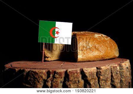 Algerian Flag On A Stump With Bread Isolated