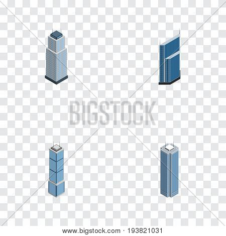 Isometric Building Set Of Tower, Residential, Apartment And Other Vector Objects. Also Includes Tower, Business, Apartment Elements.