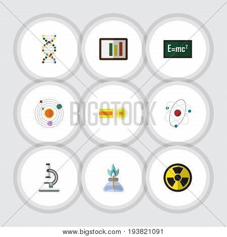 Flat Icon Knowledge Set Of Milky Way, Orbit, Genome And Other Vector Objects. Also Includes Atom, Glass, Dna Elements.