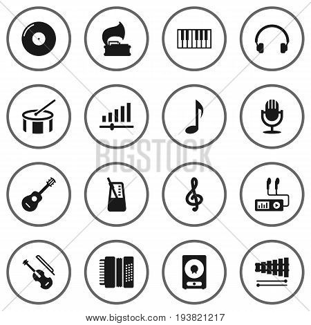 Set Of 16 Melody Icons Set.Collection Of Knob, Harmonica, Acoustic And Other Elements.